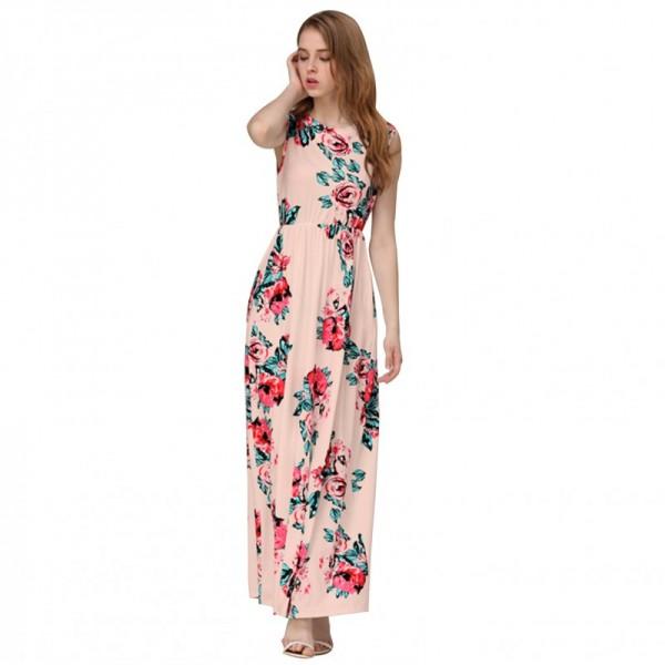 Women Fashion Pink Color Digital Printing Sleeveless Maxi Dress image