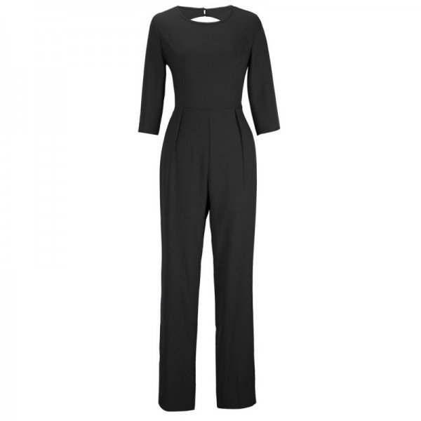 Women Summer Black Sexy Leak Back Jumpsuit Trousers Dress image