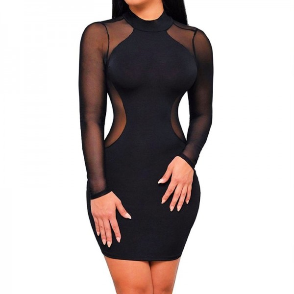 Women Mesh Splice Long Sleeve Bodycon Mini Dress image