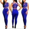 Women Sleeveless Mesh Transparent Blue Lace Jumpsuit Dress image