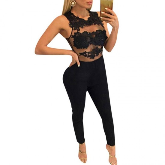 Women Sleeveless Mesh Transparent Black Lace Jumpsuit Dress image