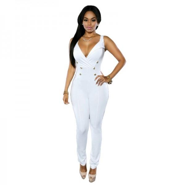 Women Fashion Sleeveless V-neck Slim White Casual jumpsuit Dress image