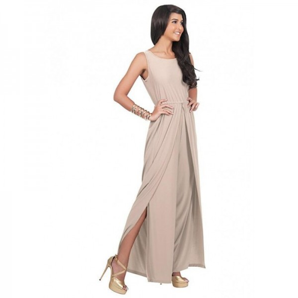 Women Hot Splicing Wide Pants Cream Round Neck Rompers Dress image