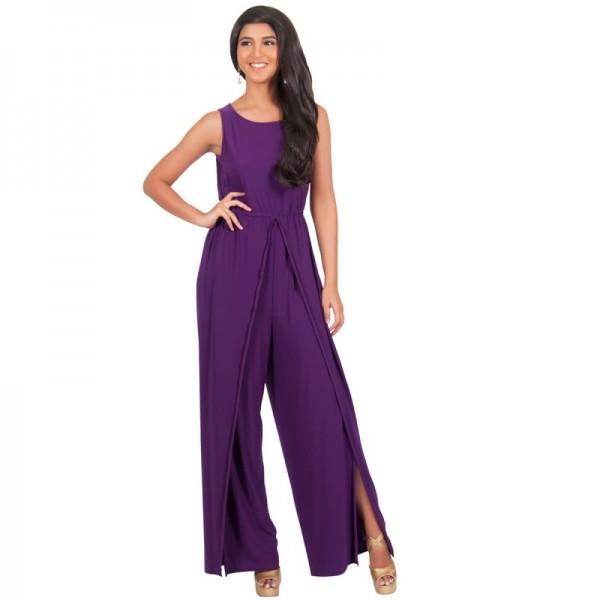 Women Hot Splicing Wide Pants Purple Round Neck Rompers Dress image