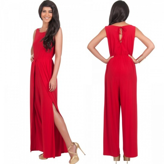 Women Hot Splicing Wide Pants Red Round Neck Rompers Dress image