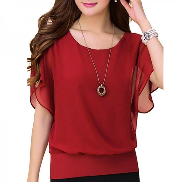 Summer Short Sleeve Round-Neck Red Chiffon Shirt for Women image