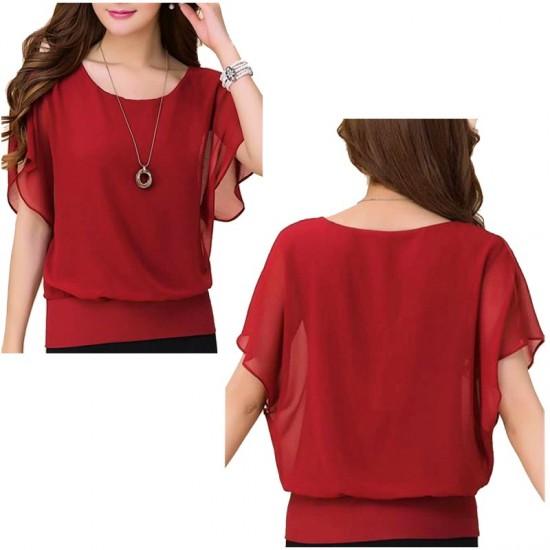 Summer Short Sleeve Round-Neck Chiffon Shirt for Women-Red image
