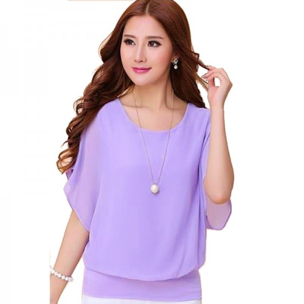 Summer Short Sleeve Round-Neck Purple Chiffon Shirt for Women image