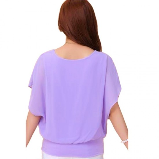 Summer Short Sleeve Round-Neck Chiffon Shirt for Women-Purple image