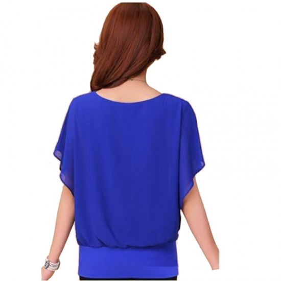 Summer Short Sleeve Round-Neck Chiffon Shirt for Women-Blue image