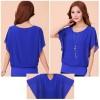 Summer Short Sleeve Round-Neck Blue Chiffon Shirt for Women image