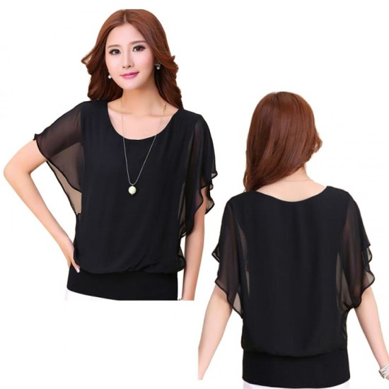 Summer Short Sleeve Round-Neck Chiffon Shirt for Women-Black image