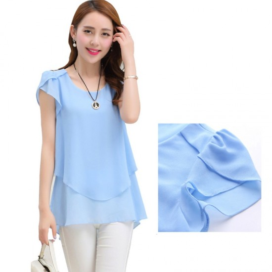 Elegant Chiffon Short Sleeve Loose Bottom Top for Women-Light Blue image