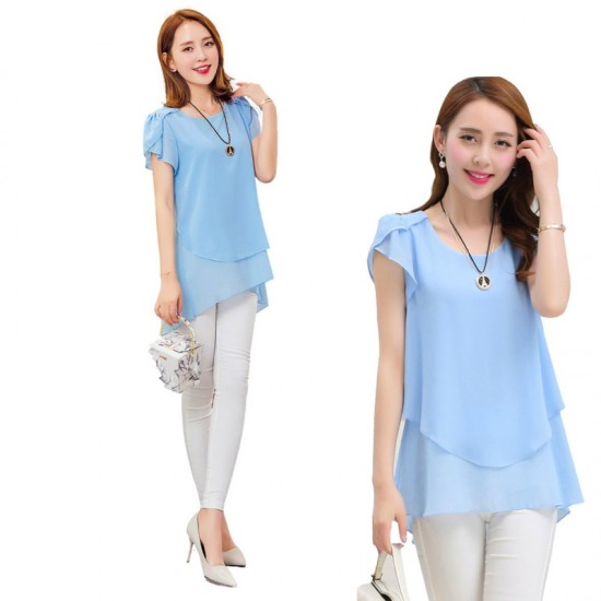 Elegant Chiffon Short Sleeve Loose Bottom Top for Women-Light Blue image