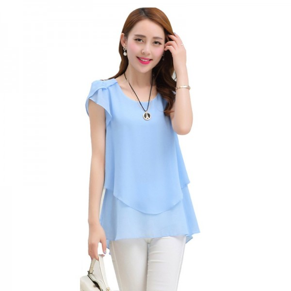 Elegant Chiffon Short Sleeve Light Blue Loose Bottom Top for Women image
