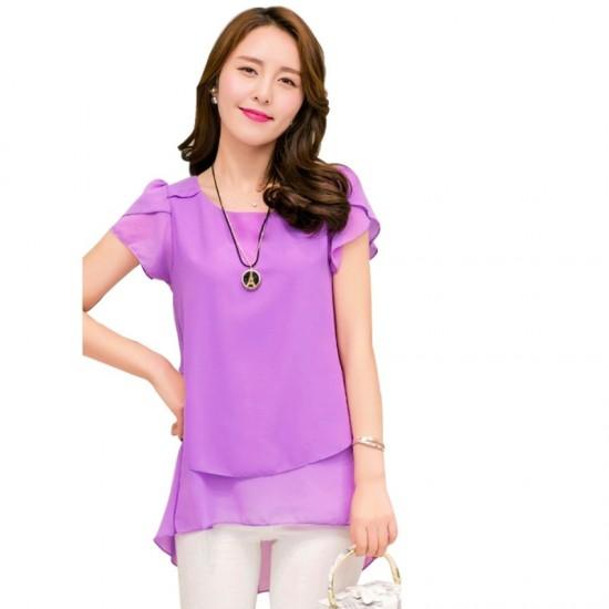 Elegant Chiffon Short Sleeve Purple Loose Bottom Top for Women image