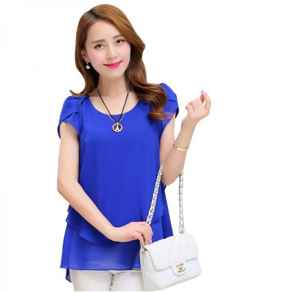 Elegant Chiffon Short Sleeve Blue Loose Bottom Top for Women image