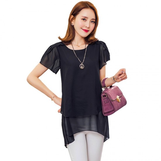 Elegant Chiffon Short Sleeve Loose Bottom Top for Women-Black image