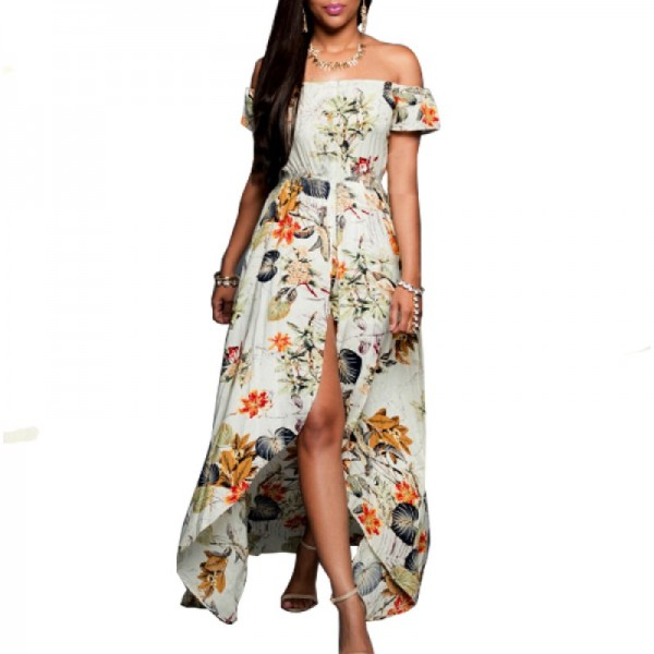 Multi Color Womens Off Shoulder Spot Printed Skirt Dress image