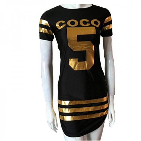 Black Color Slim Bodycon Stylish Print Mini Dress For Women image