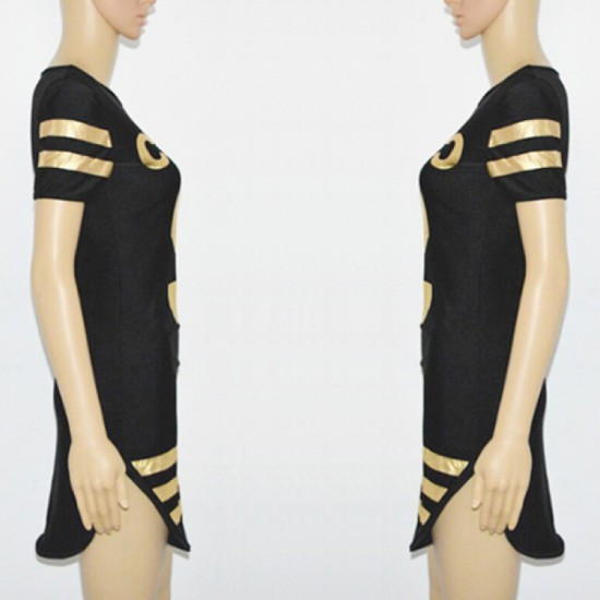 Slim Body-con Stylish Printed Mini Dress For Women-Black image