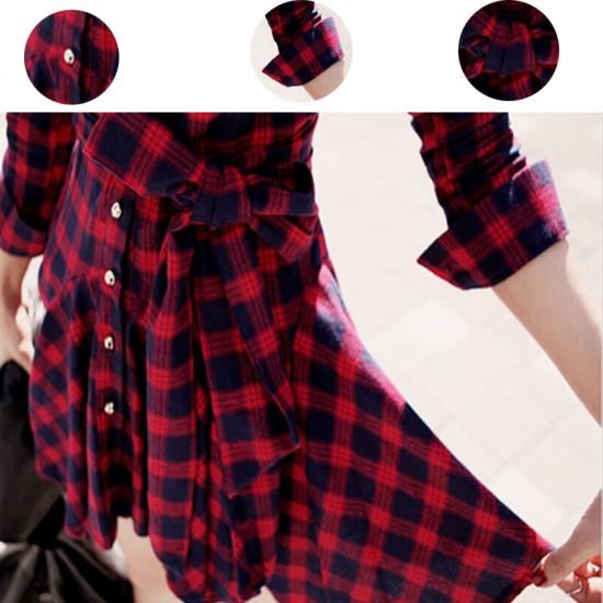 Women Fashion Red Color Retro Thin Coat Mini Dress image