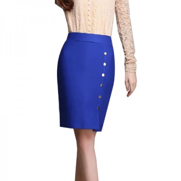 Women Fashion Blue Color Elastic High Waist Skirt Dress image