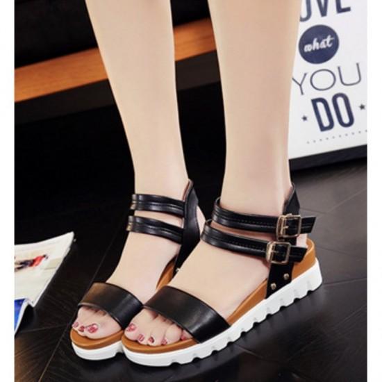 Black Color Double Buckle Flat Comfortable Sole Sandals For Women image