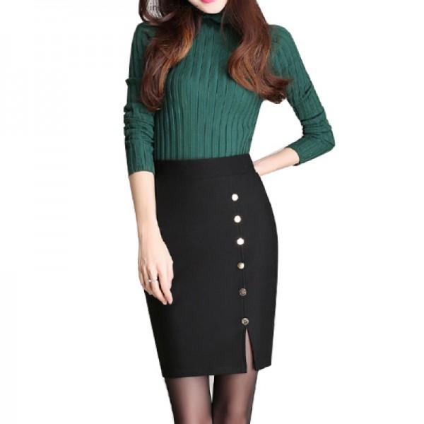 Women Fashion Black Color Elastic High Waist Skirt Dress image