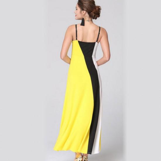 Women Fashion Yellow Color Large Stitching Striped Dress image