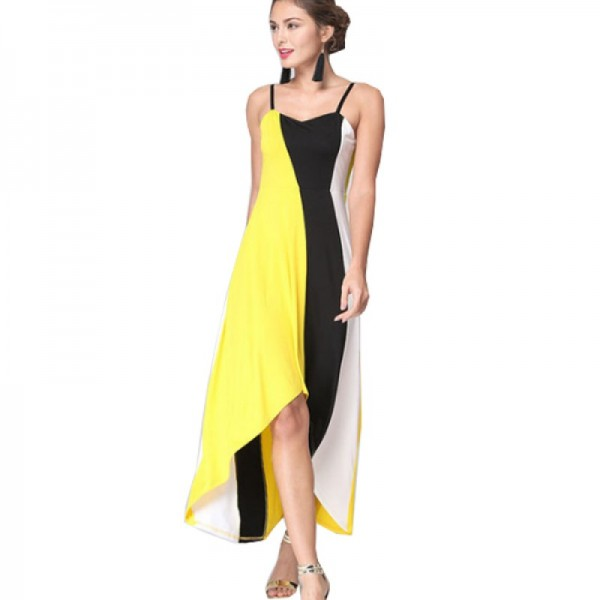 Women Fashion Yellow Color Large Stitching Striped Dress image