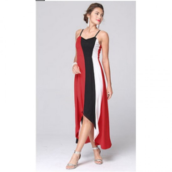 Women Fashion Red Color Large Stitching Striped Dress image