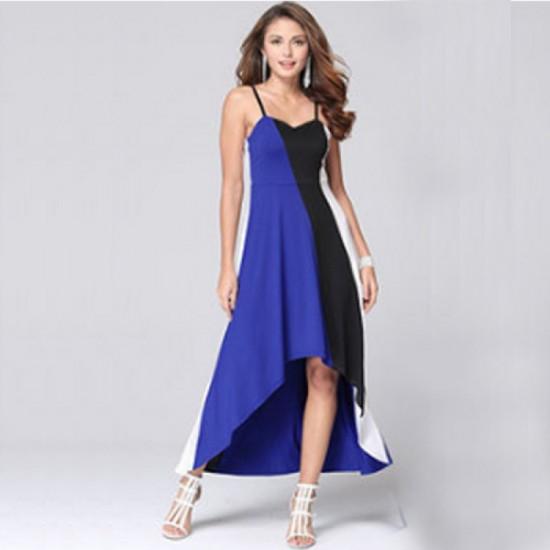 Women Fashion Blue Color Large Stitching Striped Dress image