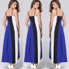 Women Fashion Blue Color Large Stitching Striped Dress image