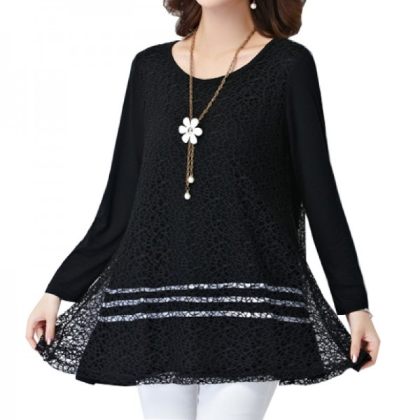 Black Color Lace Stitching Double Layers Women Shirt image