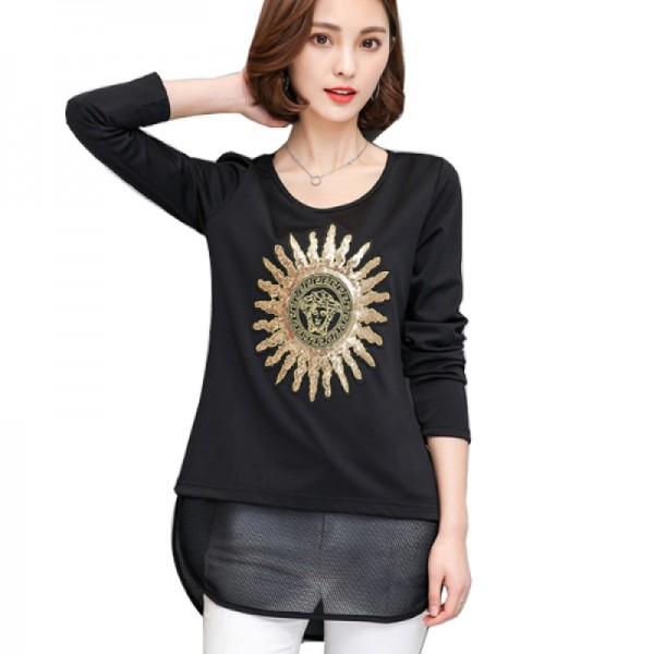 Black Color Thin Slim Long Sleeved Embroidered Women Shirt image