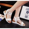 White Color Double Buckle Flat Bottomed Sandals For Women image