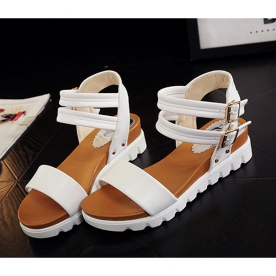 White Color Double Buckle Flat Comfortable Sole Sandals For Women image