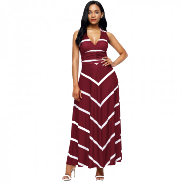 Women Maroon Maxi Striped Sexy V Neck Sleeveless High Waist Elegant Dress image