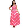 Women Pink Maxi Striped Sexy V Neck Sleeveless High Waist Elegant Dress image