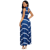 Women Blue Maxi Striped Sexy V Neck Sleeveless High Waist Elegant Dress image
