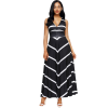 Women Black Maxi Striped Sexy V Neck Sleeveless High Waist Elegant Dress image