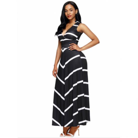 Women Black Maxi Striped Sexy V Neck Sleeveless High Waist Elegant Dress image