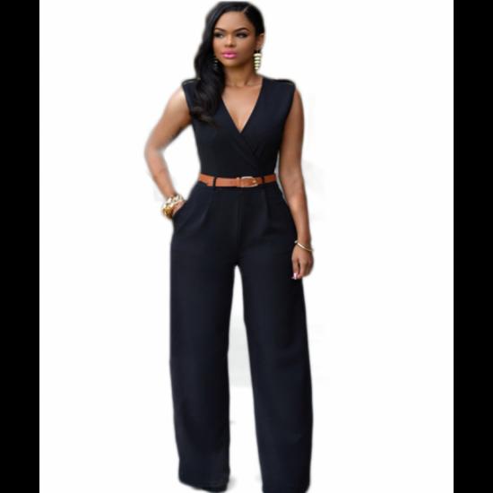 Women Irregular High Waist V Shape Wide Legs Pants Dress-Black image