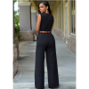 Women Irregular High Waist V Wide Legs Pants Black Dress image