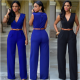 Women Irregular High Waist V Shape Wide Legs Pants Dress-Black image
