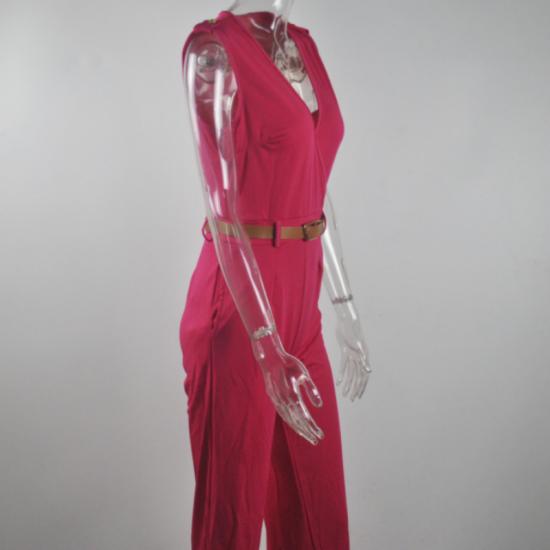 Women Irregular High Waist V Shape Wide Legs Pants Dress-Red image