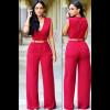 Women Irregular High Waist V Wide Legs Pants Red Dress image