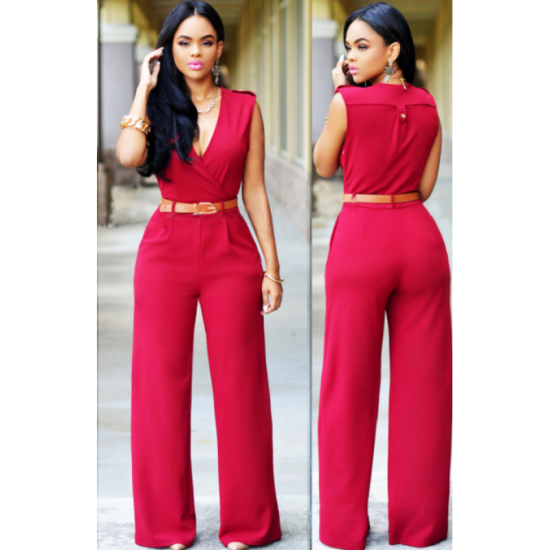 Women Irregular High Waist V Shape Wide Legs Pants Dress-Red image