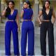 Women Irregular High Waist V Shape Wide Legs Pants Dress-Blue image